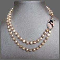 Feminine portrait cameo sterling silver pendant fresh water pearls necklace romantic contemporary jewelry design