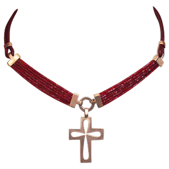 Cross silver pendant on contemporary delica beads leather necklace Christian jewelry handmade.