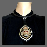 Royal coat of arms golden thread embroidery on gold and black leather pendant black silicon choker magnet clasp couture necklace upscale jewelry design