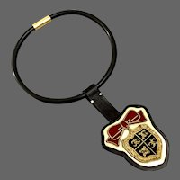 Coat of arms golden thread embroidery on gold and black leather pendant black silicon choker magnet clasp couture necklace handmade jewelry design upscale