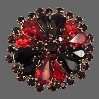 Purple red old Czech crystal brooch vintage costume jewelry