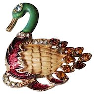 Vintage gold tone bezel old enamel duck pin brooch rich crystal costume jewelry.