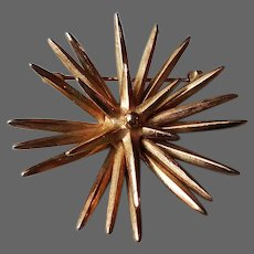 Sea star vintage brooch gold tone meatal hedgehog  jewelry.