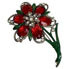 Vintage lapel brooch hand painted enamel pot metal cast plastic old stones crystal rhinestones fashion jewelry