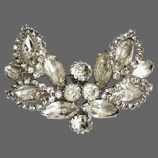 Weiss jewelry vintage crystal  wing shape brooch old rhinestones and marquises flea market jewelry