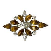 Vintage rhombus shape elegant crystal brooch amber champagne and silvery-ice color rhinestones flea market jewelry.