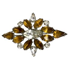 Vintage rhombus shape elegant crystal brooch amber champagne and silvery-ice color rhinestones flea market jewelry.