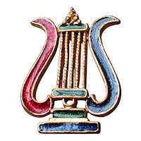 King David harp brooch with blue and red enamel brass jewelry