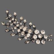 Vintage crystal brooch sparkling rhinestones on black painted brass leaf estate jewelry