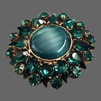 Green tiger eye stone and emerald green crystal drop brooch vintage jewelry