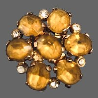 Gold-yellow Czech crystal bead brooch vintage Prague flea market jewelry exceptional