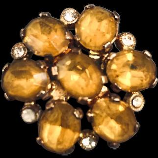 Gold-yellow Czech crystal bead brooch vintage Prague flea market jewelry exceptional