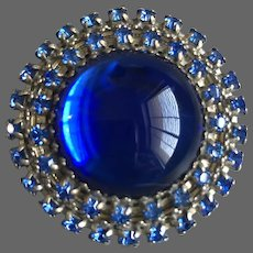 Vintage cobalt blue brooch Czech crystals glass cabochon flea market jewelry