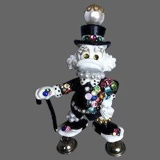 Disney Old Donald Duck miniature figurine brooch accented with pearls and crystals