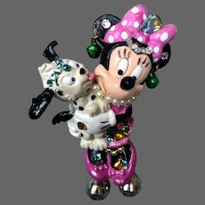 Disney Minnie Mouse miniature figurine brooch accented with pearls and crystals