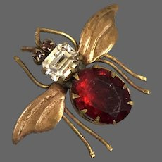Vintage bronze bumblebee brooch red white crystal cabochons