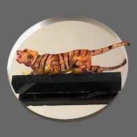 Wild tiger on mirror brooch wildlife animal jewelry vintage flea market pin
