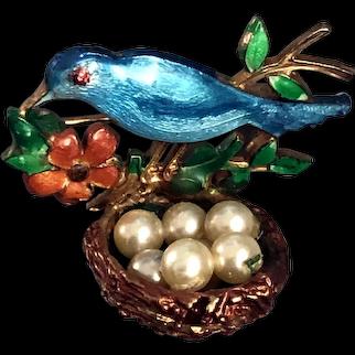 Turquoise blue enamel nesting bird brooch faux pearls bronze vintage jewelry