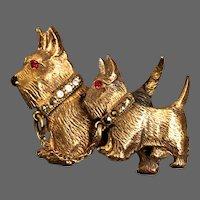 Two Terrier dogs brass brooch vintage flea market jewelry