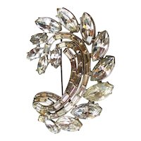 F-clef snail shape vintage crystal brooch rhinestone flea market jewelry