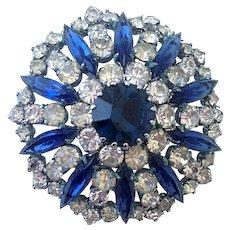 Turquoise-blue crystal vintage brooch chick rhinestone jewelry