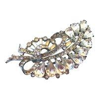 Leaf shape elegant crystal vintage brooch silver and champagne color rhinestones flea market