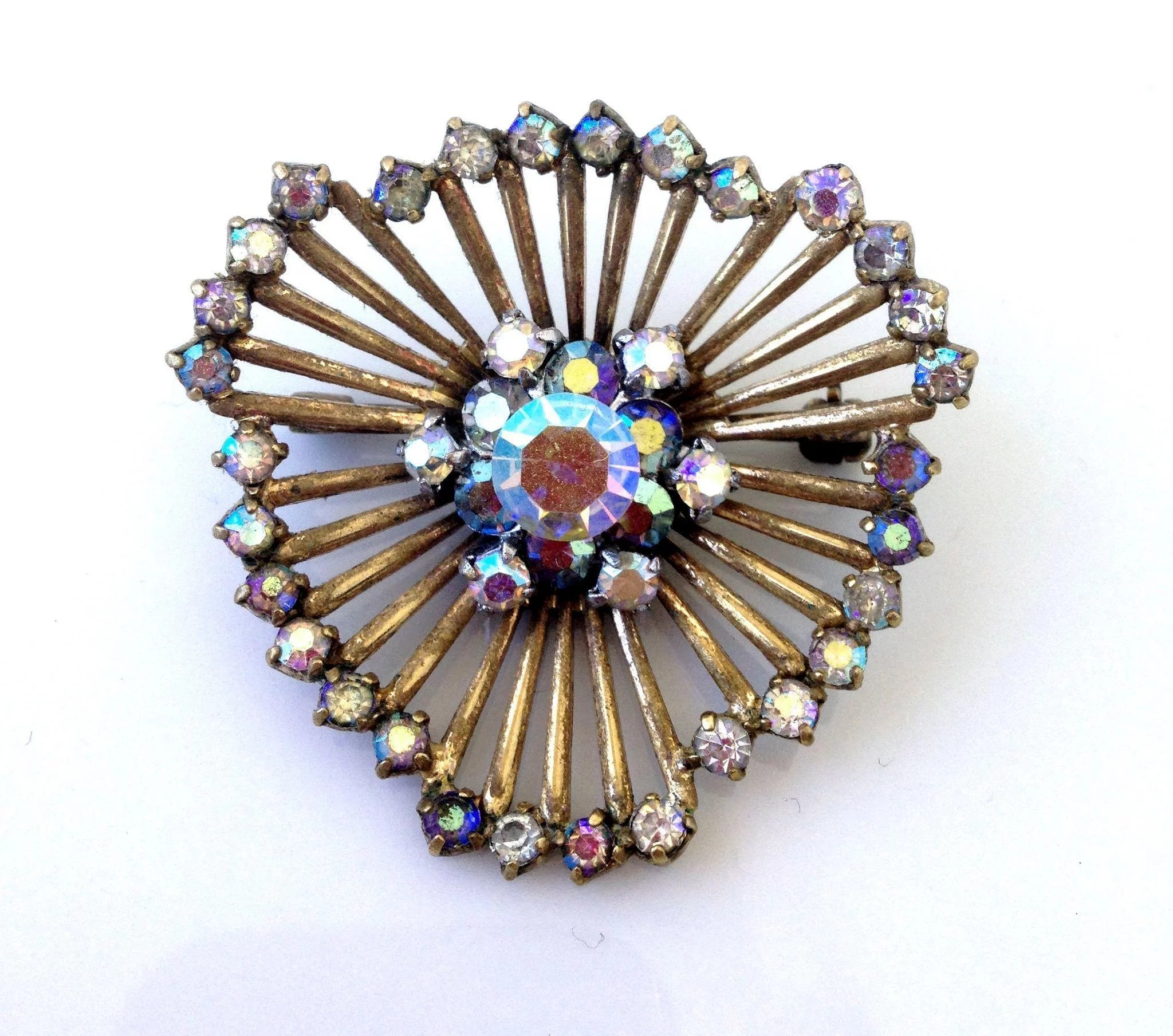 Spider web jewelry copper vintage brooch ab crystal for Vintage costume jewelry websites