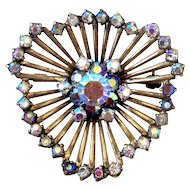 Spider web jewelry copper vintage brooch AB crystal rhinestones estate costume jewelry