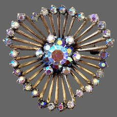 Spider web jewelry copper vintage brooch AB crystal rhinestones estate costume jewelry
