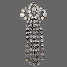 European spade rhinestones pin brooch medallion vintage estate jewelry