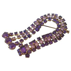 Violet crystal rhinestones vintage David harp brass brooch safety catch clasp estate jewelry