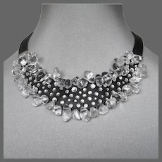 Black leather crystal choker hand-embroidered genuine Swarovski rhinestones and icy quartz stones necklace exceptional jewelry design upscale