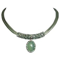 Green agate sterling silver pendant Czech crystal  beads leather necklace