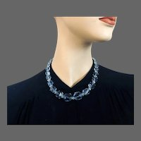 Sapphire blue old Czech crystal bead necklace Prague flea market elegant vintage jewelry