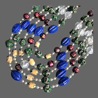 Colorful 5 strand bib vintage necklace choker glass lamp work beads faux pearls colorful glowing jewelry