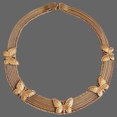 Rare vintage necklace couture Pierre Lorion Sylvia Karels butterfly multi-chain gold-copper tone brass-collar choker collector's jewelry