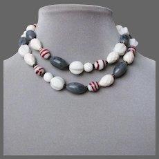 Venetian lampwork beads ocean gray sea wave foam white vintage long necklace.
