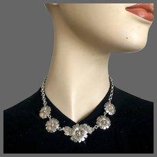Five silver plated daisy flowers pendant on vintage dainty chain necklace flea market jewelry feminine choker design
