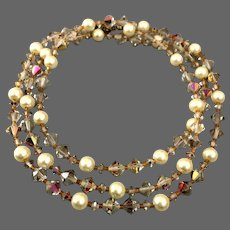 Vintage faux pearls bronze color crystal beads very long necklace