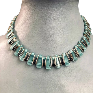 Caribbean blue flat glass beads ancient Egypt style turquoise tone necklace choker vintage jewelry design