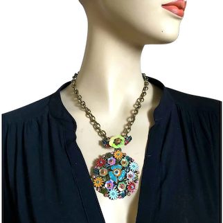 Vintage metallic colors flower sequins and Swarovski crystals pendant on brass chain necklace