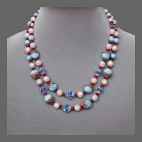 Blue red white faux pearls crystal glass bead 2 strand choker necklace European vintage jewelry