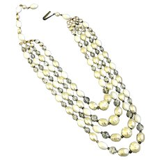 Four strand white pearl color Italian glass and old plastic beads vintage elegant necklace