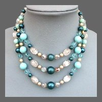 Vintage 3 strand necklace turquoise glass faux pearls lampwork beads Czech crystals costume jewelry