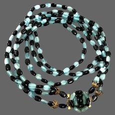 Glowing turquoise & black glass rice beads three strand vintage necklace estate fashion jewelry