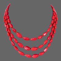 Three strand coral red glass beads European vintage classic necklace old costume jewelry