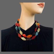 Lucite old plastic multicolor rhombus beads long necklace vintage costume Paris flea market find