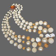Vintage three strand faux pearl golden glass lampwork bead necklace box tab insert clasp flea market jewelry upscale