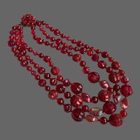 Vintage 3 strand burgundy red wine color bead necklace old plastic AB glass leaves flea market jewelry