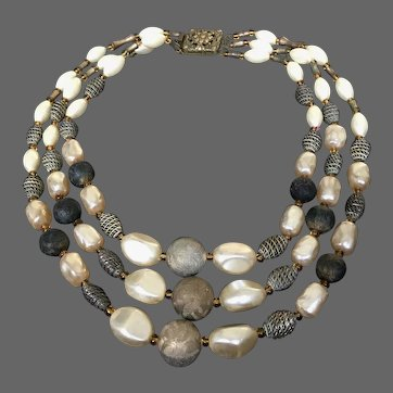 Three strand vintage necklace old plastic gunmetal gray beads faux pearls yellow seed beads flea market jewelry design